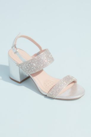 Blossom Grey;White Heeled Sandals (Pearl and Crystal Wide Strap Block Heel Sandals)