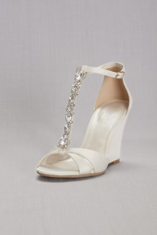 David's Bridal Ivory Wedges (Crystal T-Strap Satin Wedges)