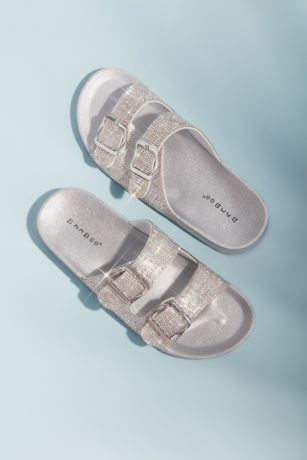 Bamboo Grey Flat Sandals (Micro Crystal Double Strap Flat Sandals)