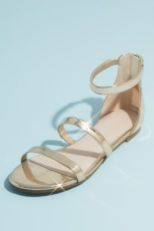 David's Bridal Pink;Yellow Flat Sandals (Patent Clear Strap Sandals with Adjustable Buckle)