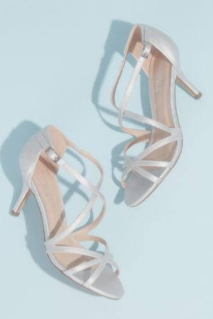 Pink Paradox Grey;Ivory Heeled Sandals (Metallic Crisscross Strappy Heeled Sandals)