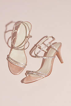 Pink Sandals (Skinny-Strap Crisscross Glitter Heels)