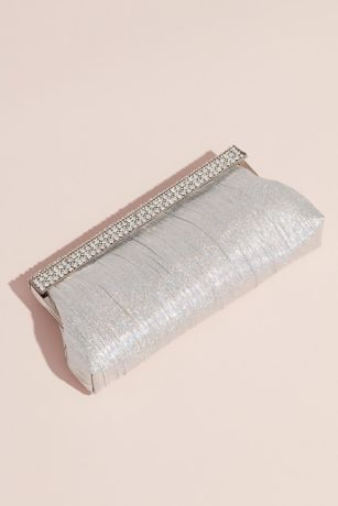 Nina Pleated Clutch with Crystal Trim