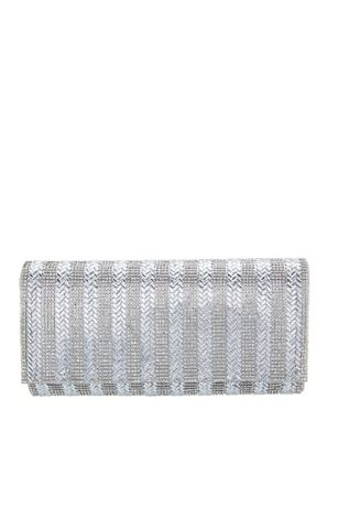 Nina Crystal and Bead Foldover Clutch
