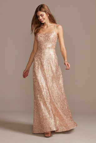 Floral Corded Lace Sequin Gown with Lace-Up Back