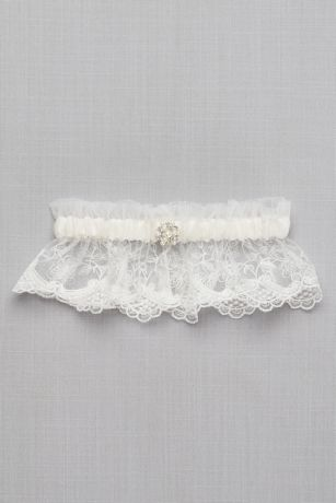 Scalloped Lace Garter with Pearl Detail