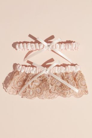 Blush Scalloped Lace and Satin Bow Garter Set