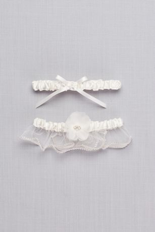 Adjustable Embellished Satin Garter Set