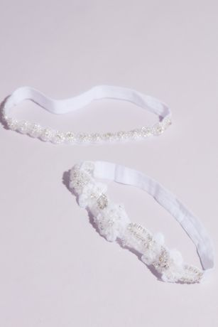Soft Flower Rhinestone-Embellished Garter Set
