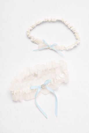 Ruffled Organza Garter Set with Ribbon Bows