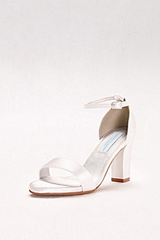 Dyeable Ankle-Strap Block Heel Sandals MADDOXWHITE