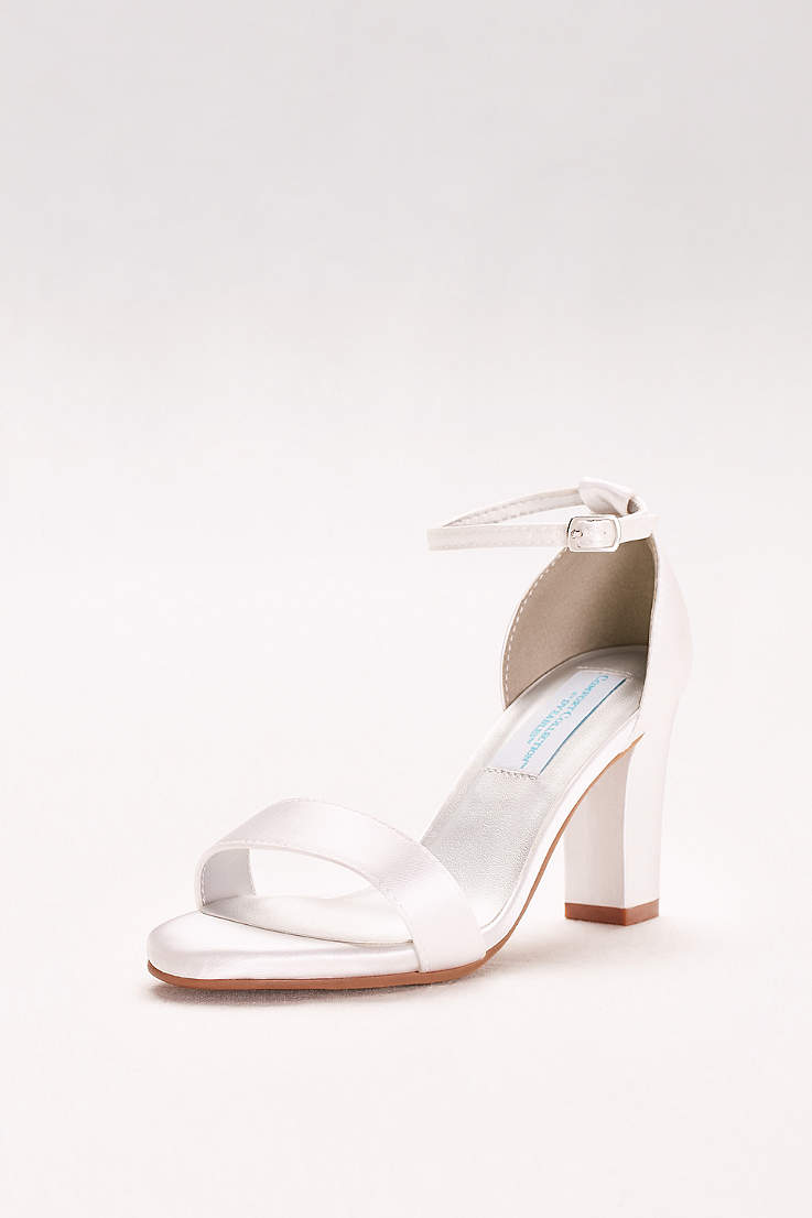 4611fcb939ab Dyeables White (Dyeable Ankle-Strap Block Heel Sandals)