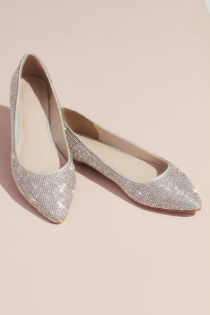 David's Bridal Grey Ballet Flats (Allover Crystal Metallic Almond-Toe Flats)