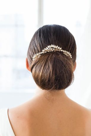 Scalloped Marquise Crystal Halo Comb