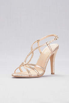 Pink Paradox Ivory (Strappy Metallic Foil High-Heel Sandals)
