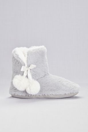 Capelli Grey;White Slippers (Faux-Fur Slipper Booties with Pom Poms)