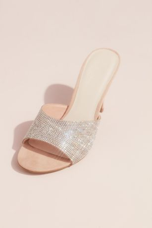 David's Bridal Beige Heeled Sandals (Open Toe Sueded High Heel Mules with Crystal Vamp)