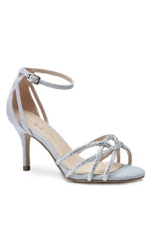 Pink Paradox Black;Grey;Ivory Sandals (Shimmery Crisscross Heels with Iridescent Stones)