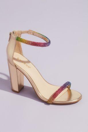 Bamboo Grey;Pink;Yellow Heeled Sandals (Rounded Crystal Straps Metallic Block Heel Sandals)