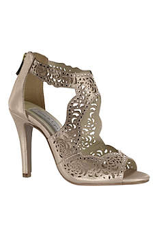 Touch Ups Beige (Perforated High Heel Sandals with Back Zip)