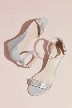 David's Bridal Grey Sandals (Crystal-Topped Wedge Sandals with Ankle Strap)
