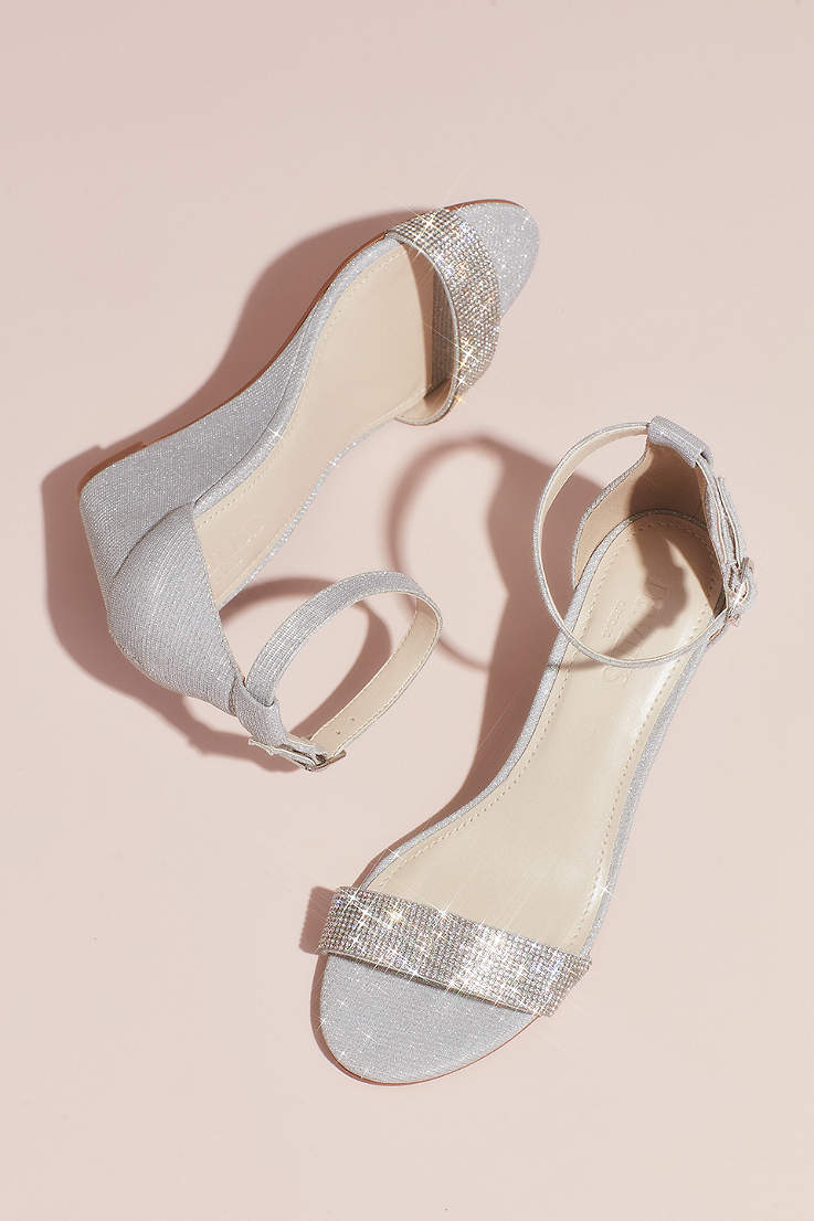 b316ee02f2 David's Bridal Grey Wedges (Crystal-Topped Wedge Sandals with Ankle Strap)