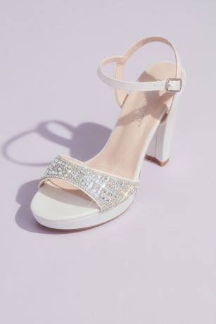 Blossom White Heeled Sandals (Crystal Vamp and Satin Block Heel Platform Sandals)