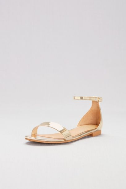 Single Strap Mirror Metallic Flat Sandals by David's Bridal