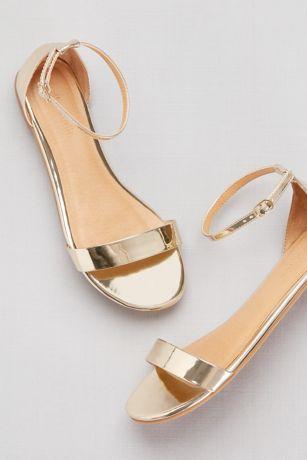 David's Bridal Pink;Yellow Sandals (Single-Strap Mirror Metallic Flat Sandals)