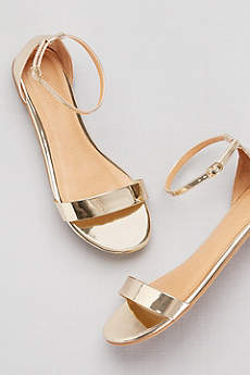 David's Bridal Pink Sandals (Single-Strap Mirror Metallic Flat Sandals)