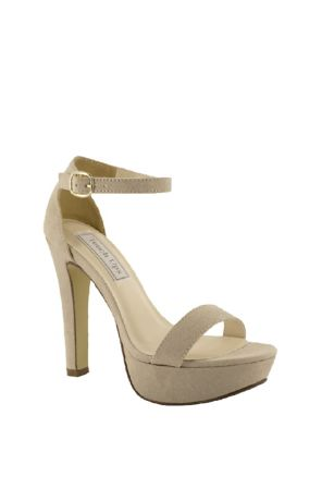 Touch Ups Beige Heeled Sandals (Vegan Suede Platform Ankle Strap Sandals)