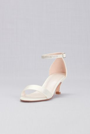 David's Bridal Ivory Flowergirl Shoes (Girls Heeled Sandals with Crystal Strap)