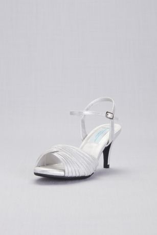 Dyeables Blue;Grey;Ivory Heeled Sandals (Pleated Crisscross Low-Heel Sandals)