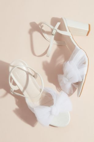 David's Bridal White Heeled Sandals (Pleated Chiffon Bow Mid-Heel Sandals)