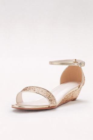 David's Bridal Blue;Yellow Wedges (Glittery Low-Wedge Sandals)