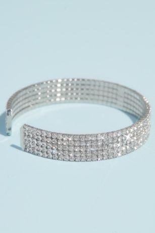 Five-Row Pave Rhinestone Cuff Bracelet