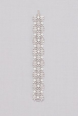 Cubic Zirconia and Pearl Wide Floral Bracelet