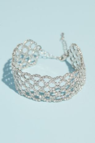 Woven Pave Crystal Bracelet with Scalloped Trim