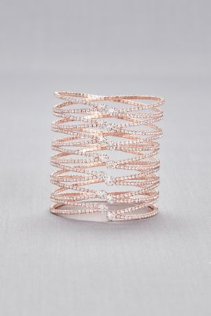 Crystal-Encrusted Overlapping Bangle Bracelet