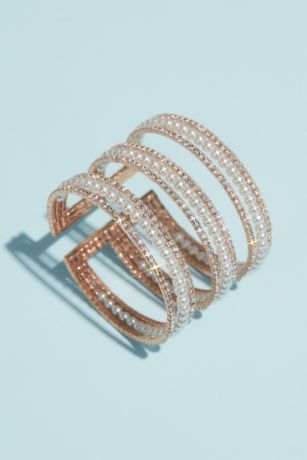 Crystal and Pearl Triple Band Cuff Bracelet