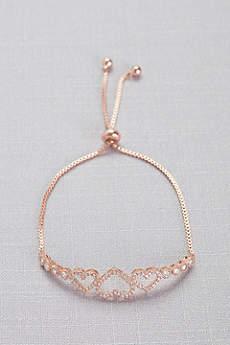 Cubic Zirconia Three Heart Pull-Back Bracelet