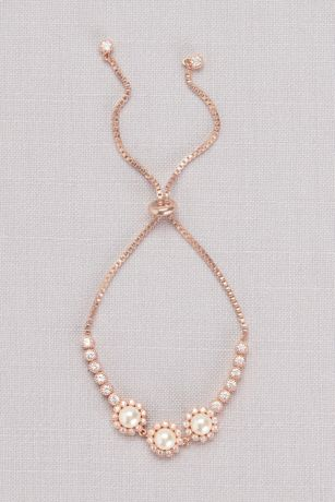 Cubic Zirconia Pearl Blossom Pull-Back Bracelet