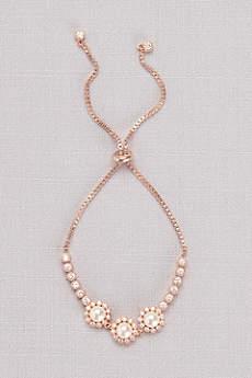 Cubic Zirconia Pearl Blossom Pull-Back Bracelet
