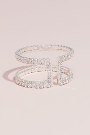 Double Crystal Stack Adjustable Cuff Bracelet