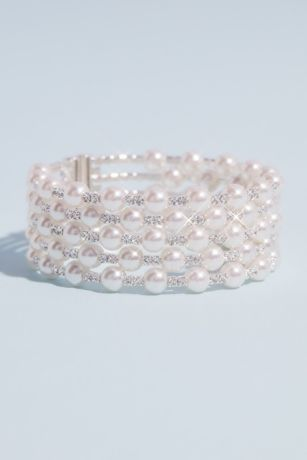 Multi Strand Crystal and Pearl Stack Cuff Bracelet