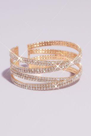 Pave Rhinestone Crossover Cuff Bracelet