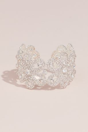 Crystal Blooming Flower Patterned Cuff Bracelet