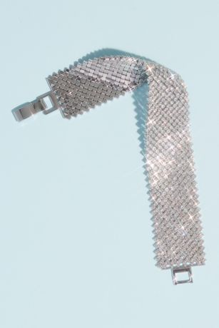 Statement Cuff with Rhinestone Mesh