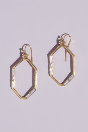 Gilded Hexagon Earrings with Baguette Crystals