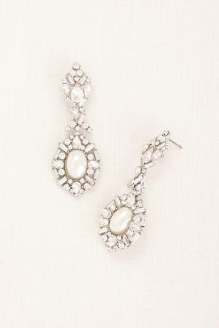 Deco Rhinestone Pearl Statement Earrings